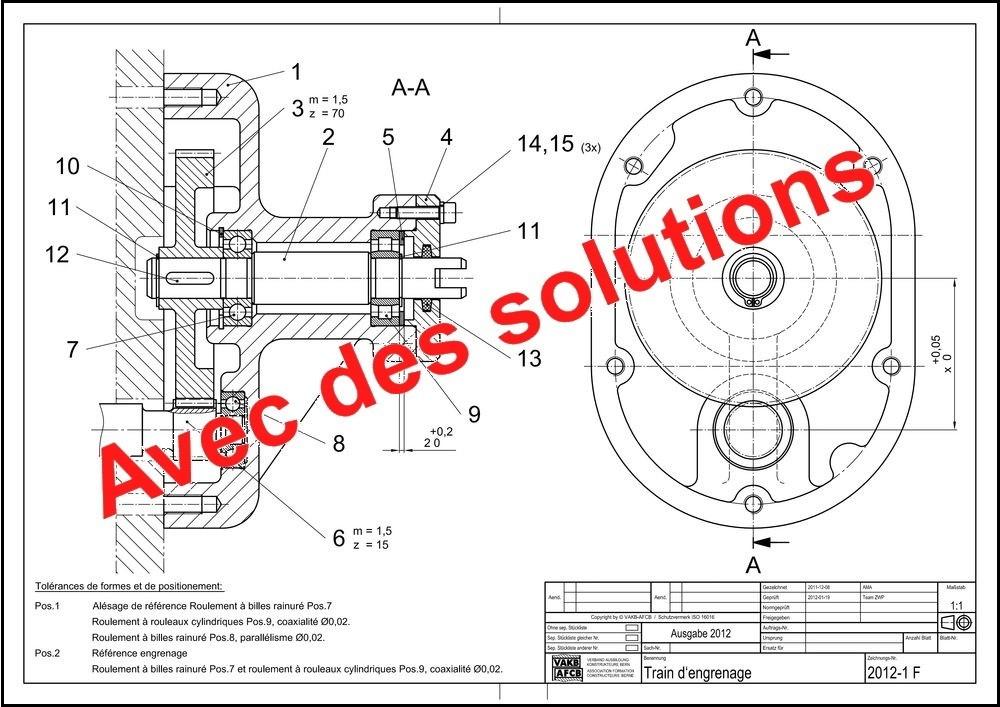 Examen intermédiaire 2012: Transmission par flasque d'engrenage droit